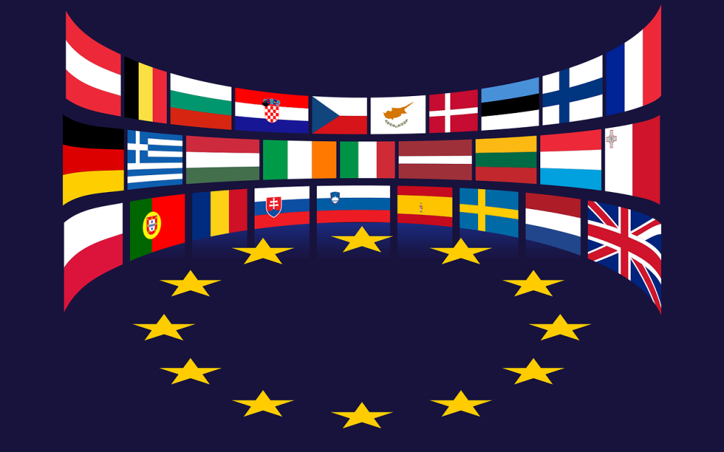 Die WEEE EU Richtlinie / europäische Flaggen und Sterne